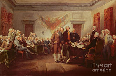 Room Interior Painting - Signing The Declaration Of Independence by John Trumbull