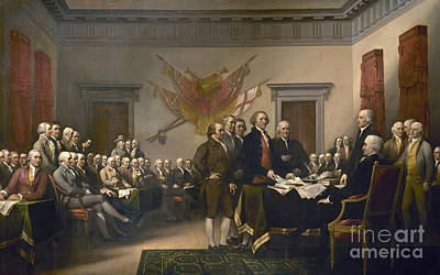 Philadelphia History Painting - Signing The Declaration Of Independence, July 4th, 1776 by John Trumbull