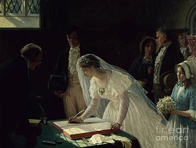Signing The Register Art Print by Edmund Blair Leighton