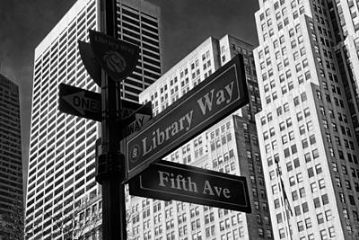 Photograph - Library Way Street Signs by Jessica Jenney