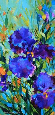 Blue Iris Painting - Signs Of Spring Blue Iris by Nancy Medina