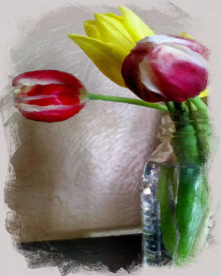 Flowers In Vase Mixed Media - Signs Of Spring by Bonnie Bruno