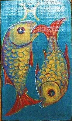 Greeting Card - Signs Of Zodiac - Pisces by Rae Chichilnitsky