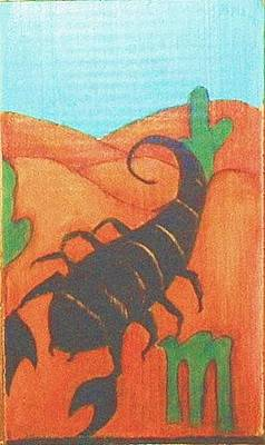 Greeting Card - Signs Of Zodiac - Scorpio by Rae Chichilnitsky