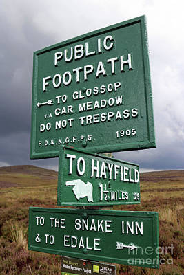 Photograph - Signs On Kinder Scout by Julia Gavin