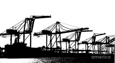 Photograph - Sihouette View Of Container Loading Cranes by Yali Shi