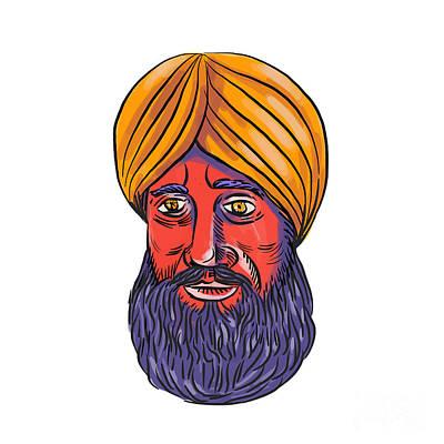 Sikh Turban Beard Watercolor Art Print by Aloysius Patrimonio