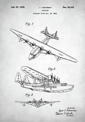 Digital Art - Sikorsky Seaplane Patent by Taylan Apukovska