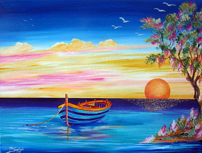 Painting - Silence And Tranquility At Sunset by Roberto Gagliardi