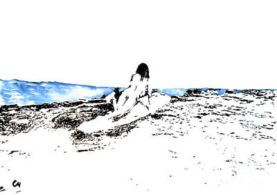 Surfing Art Drawing - Silence. by Marat Cherny