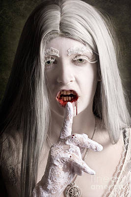 Vampire Photograph - Silent Evil White Vampire Woman. Monster Secret by Jorgo Photography - Wall Art Gallery