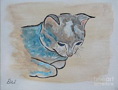 Painting - Silent Moments - Cat Painting by Ella Kaye Dickey