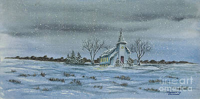 New England Snow Scene Painting - Silent Night by Charlotte Blanchard