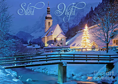 Digital Art - Silent Night Christmas Time by JH Designs