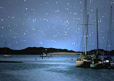 Silent Night Harbor Art Print by Stephanie Laird