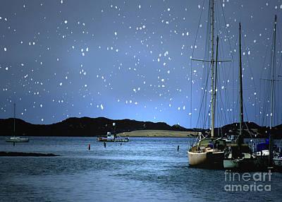 Silent Night Harbor Art Print