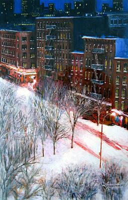 Brownstone Painting - Silent Night Nyc by Leonardo Ruggieri