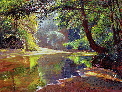Contemplative Painting - Silent River by David Lloyd Glover