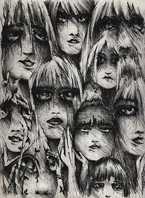 Bipolar Drawing - Silent Screams by Rachel Christine Nowicki