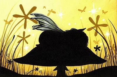 Yellow Fairy Painting - Silent Slumber by Elaina  Wagner