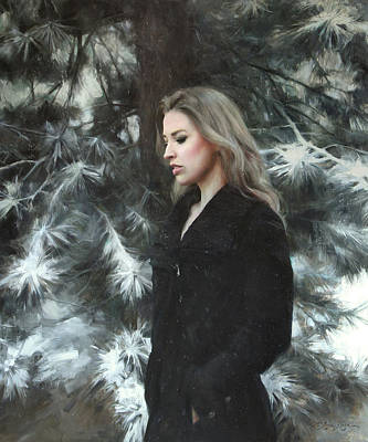Branch Wall Art - Painting - Silent Snowfall by Anna Rose Bain