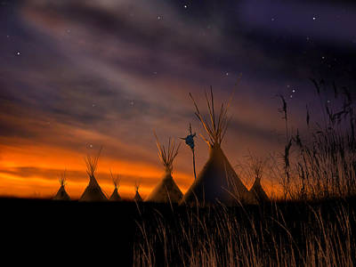 Indian Wall Art - Painting - Silent Teepees by Paul Sachtleben