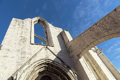 Photograph - Silent Witness - Carmo Convent Roofless Ruin In Lisbon Portugal by Georgia Mizuleva