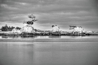 Photograph - Siletz Bay Oregon Black And White by Connie Cooper-Edwards