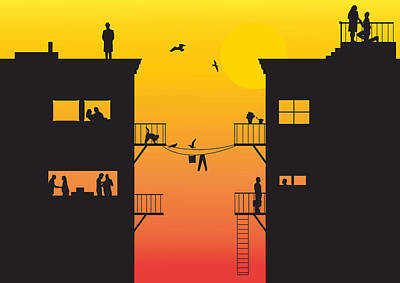 Silhouet City Art Print by Lionel Emanuelson