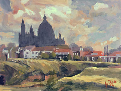 Painting - Silhouet Saint Lambertus Church Maastricht by Nop Briex