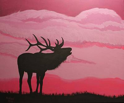 Painting - Silhouette Elk by Ralph Root