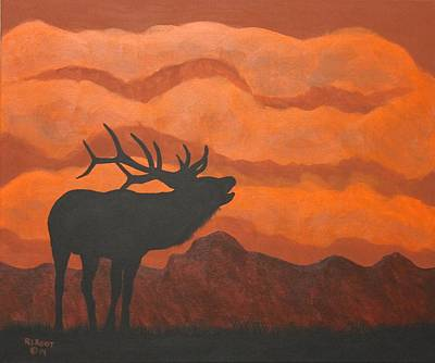 Painting - Silhouette Elk Rust by Ralph Root