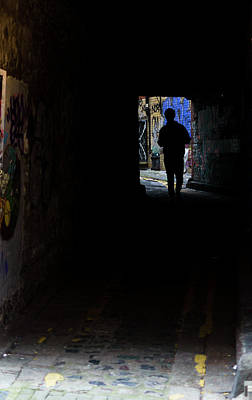 Photograph - Silhouette Man Walking In Dark Alley by Jacek Wojnarowski