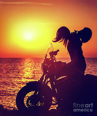 Photograph - Silhouette Of A Biker Woman by Anna Om
