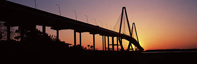 Cooper River Photograph - Silhouette Of A Bridge Over A River by Panoramic Images