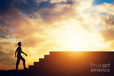 Photograph - Silhouette Of A Man Standing In Front Of Stairs. by Michal Bednarek