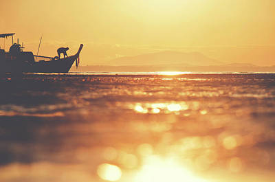 Silhouette Of A Thai Fisherman Wooden Boat Longtail During Beautiful Sunrise Art Print