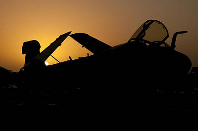 Silhouette Of An Ea-6b Prowler Print by Giovanni Colla