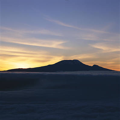 Silhouette Of Mount Kilimanjaro Art Print by David Pluth