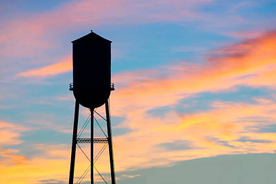 Silhouette Of Small Town Water Tower Art Print