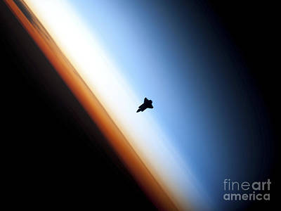Ov-105 Photograph - Silhouette Of Space Shuttle Endeavour by Stocktrek Images