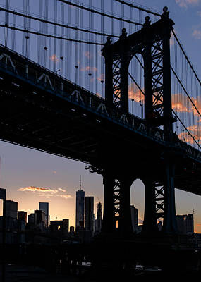 Photograph - Silhouette Of The Manhattan Bridge by Dick Wood