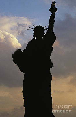 Photograph - Silhouette Of The Statue Of Liberty by French School