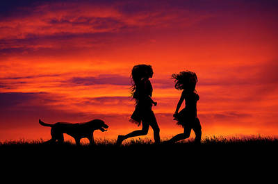 Looking Away From Camera Photograph - Silhouette Of Two Girls And Dog by Maggie McCall