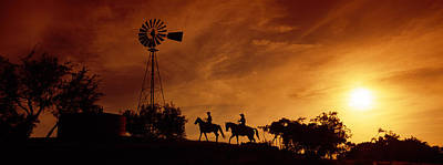 Horseback Photograph - Silhouette Of Two Horse Riders by Panoramic Images