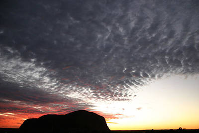 Silhouette Of Uluru At Sunset Art Print