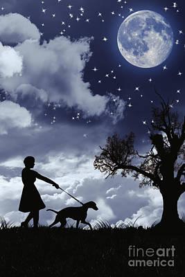 Silhouette Of Woman Walking Her Dog Art Print by Amanda Elwell