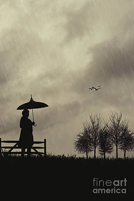 Silhouette Of Woman With Umbrella Art Print by Amanda Elwell