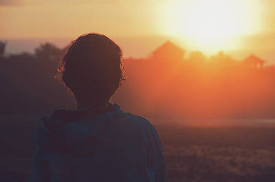 Silhouette Portrait Of A Young Woman With Short Hair Watching Beautiful Sunset Art Print