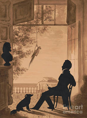 Parrot Mixed Media - Silhouette Profile Of Artist Charles Fenderich, 1841 by Augustin Amant Constant Fidele Edouart